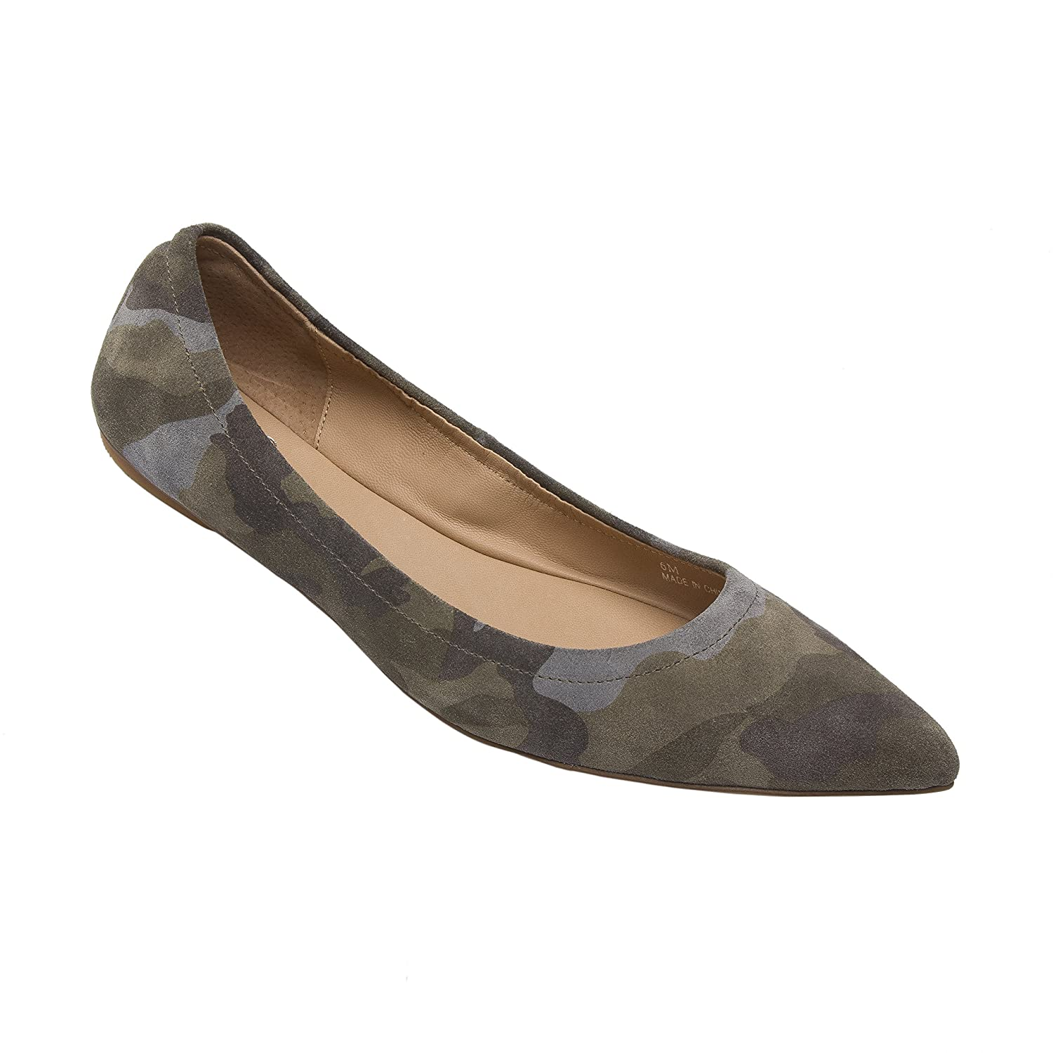 NICO | Women's Pointy Toe Elasticized Leather or Suede Ballet Flat (New Spring) B0778YR756 6.5 M US|Camouflage Print Suede