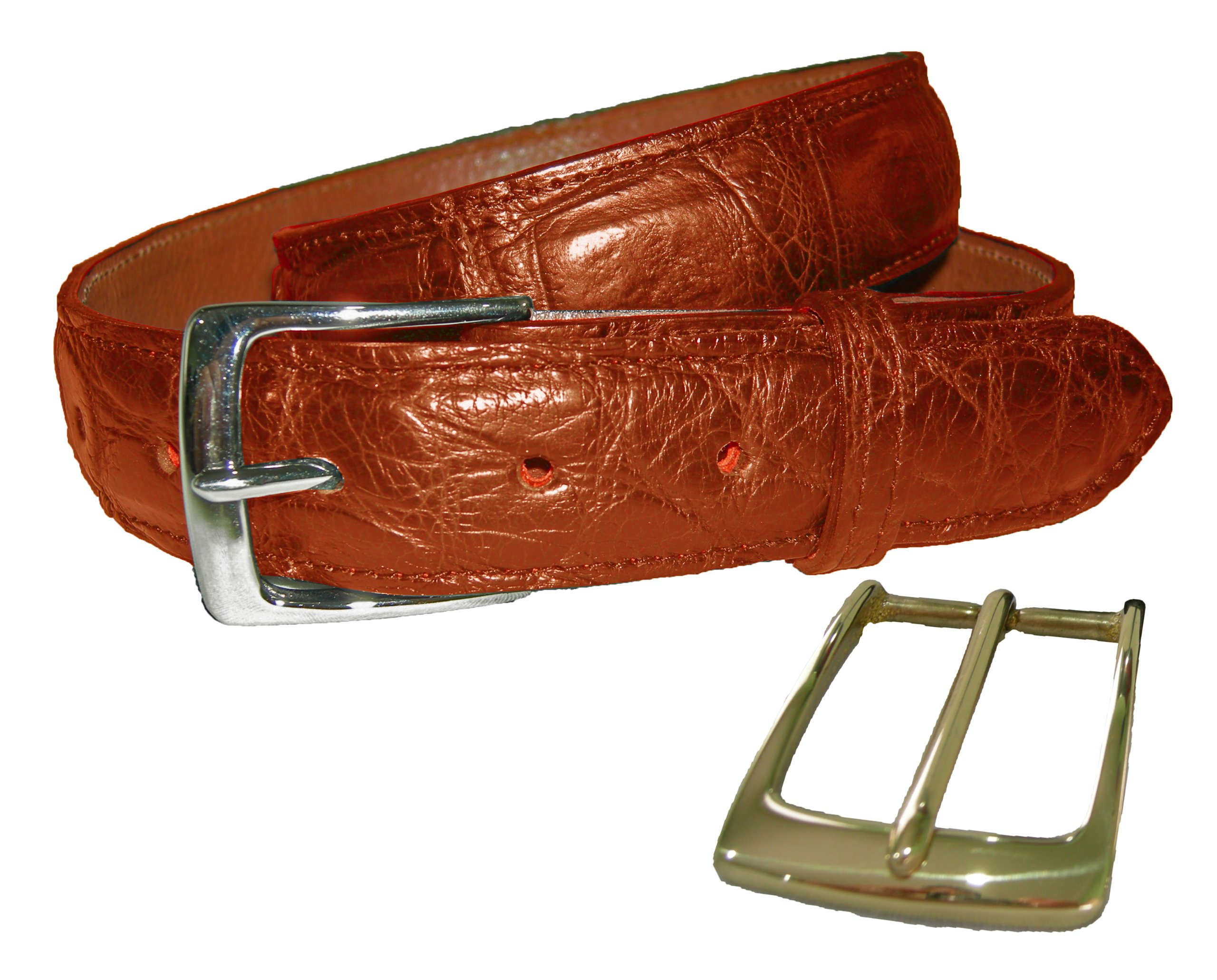 Sultan Genuine Alligator Men's 1-1/4'' Belt - Cognac Safari (Semi-Gloss) - 36
