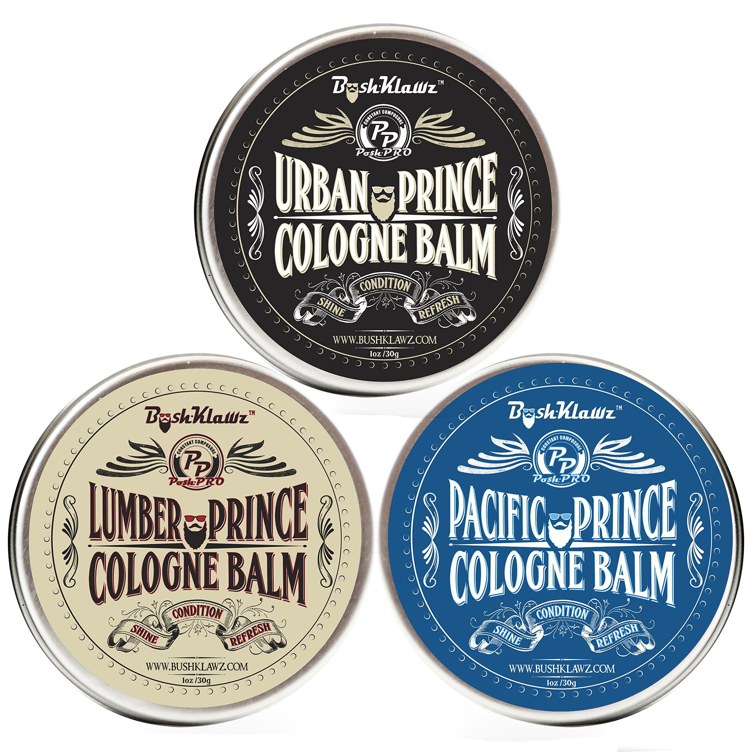 Prince Solid Cologne Balms Gift Set Fragrance by BushKlawz - Full Size 1 oz Tins of Each our Famous Solid Colognes, Lumber Pacific and Urban Alcohol Free Cologne - Best Gift for Men
