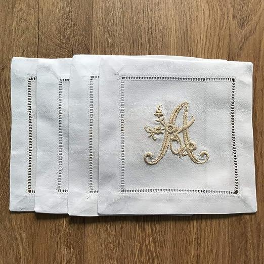 Starfish Embroidered Monogram Linen Cocktail Napkins set of 4