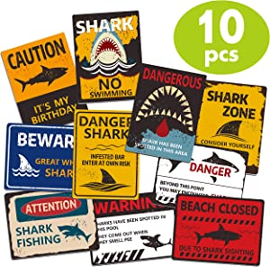 "10 Designs Shark Zone Party Wall Decorations Signs for Ocean Theme Birthday Party Supplies in Horizontal and Vertical Design (Each Measures 6""X 8"")"