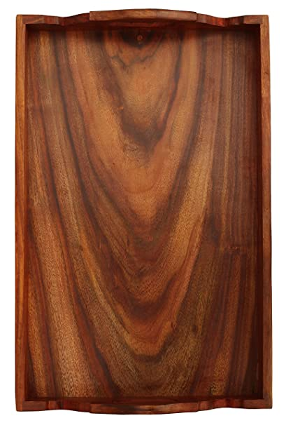 SouvNear Hecho a mano de madera cuadrada de arandelas y bandeja con asas - 43,