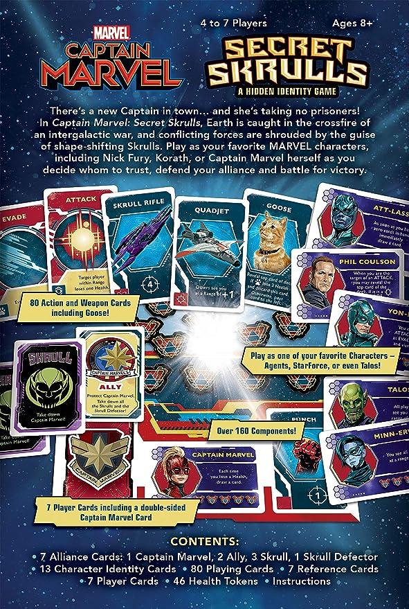 Captain Marvel: Secret Skrulls Card Game   Hidden Identity Game Featuring Marvel Universe Characters   Officially Licensed Avengers Captain Marvel ...