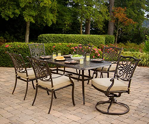 Hanover TRADITIONS7PCSW, 4 Stationary, 2 Swivel Rocker Chairs, and 38 x72 R Traditions 7-Piece Cast Aluminum Outdoor Patio Dining Set, Frame, Bronze Tan