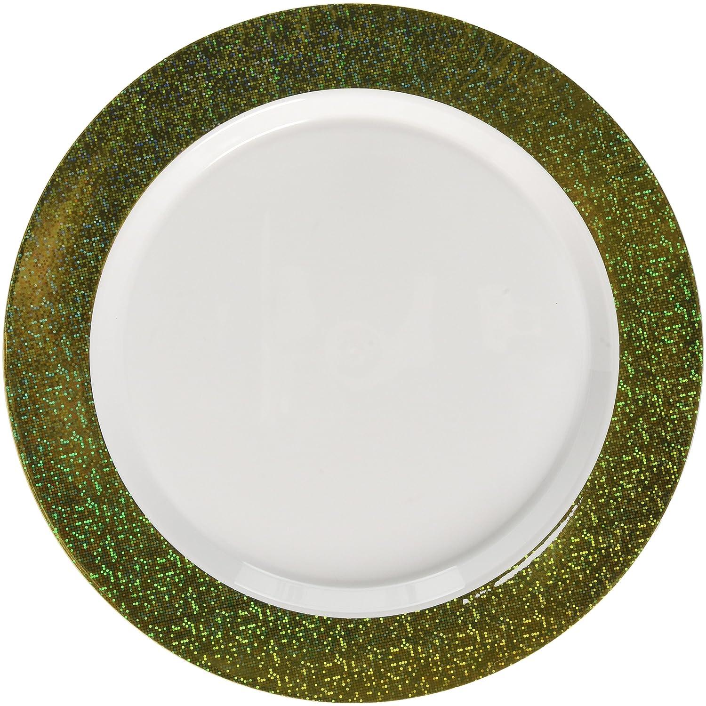 10.25 10 ct. Amscan 430538.19 Premium Plastic Round Plates White w//Gold Prismatic Border