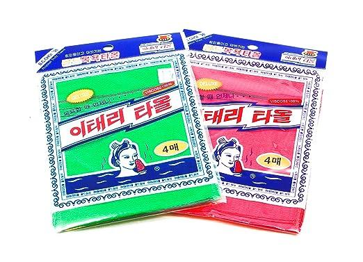 Italy Towel 8 Pcs Asian Exfoliating Bath Washcloth - Red & Green: Amazon.es: Hogar