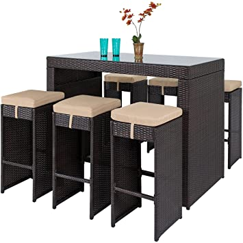 dining chairs bar stools. best choice products 7pc rattan wicker barstool dining table set bar stool brown chairs stools