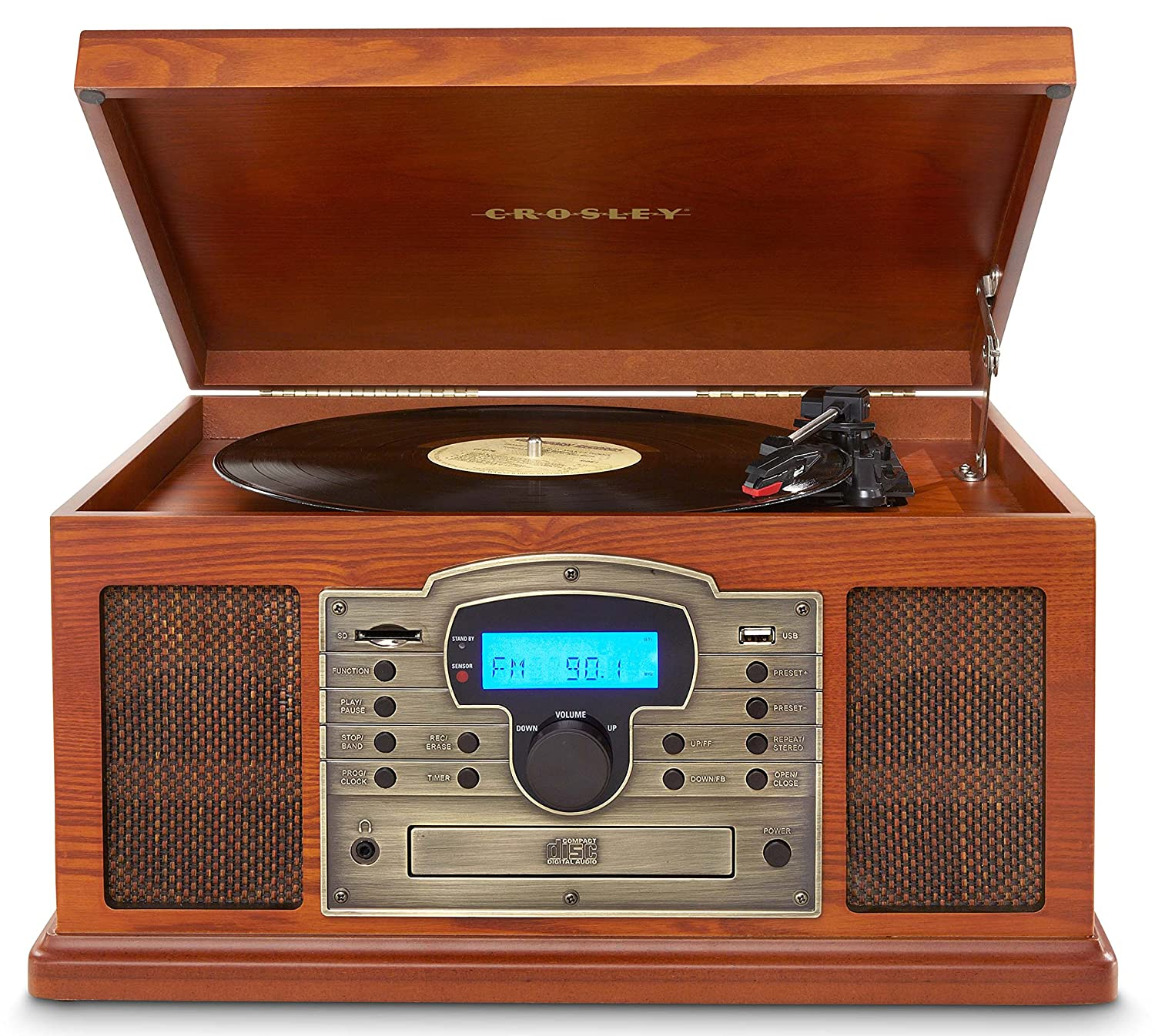 Amazon.com: Crosley CR7002A PA Troubadour Turntable With USB/SD Card Reader  To Transfer Albums To Memory Card, Paprika: Home Audio U0026 Theater