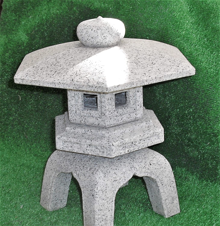 自然石御影石 古代雪見灯篭 尺角(約30㎝)設置用資材一式付 B078SRDPWD