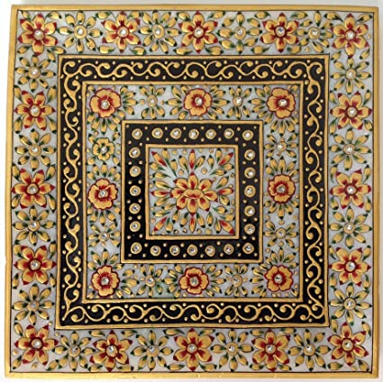 Amazon Com Indian Marble Plate Decor Painting Handmade Floral Motif
