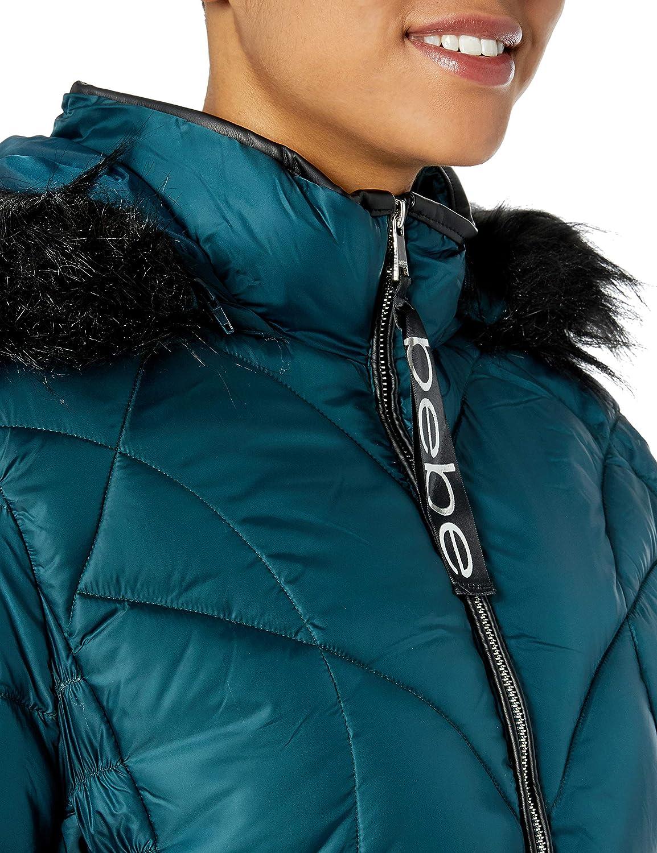 BeBe Women's Outerwear Women's Plus Size Puffer Jacket Winter Teal/Black