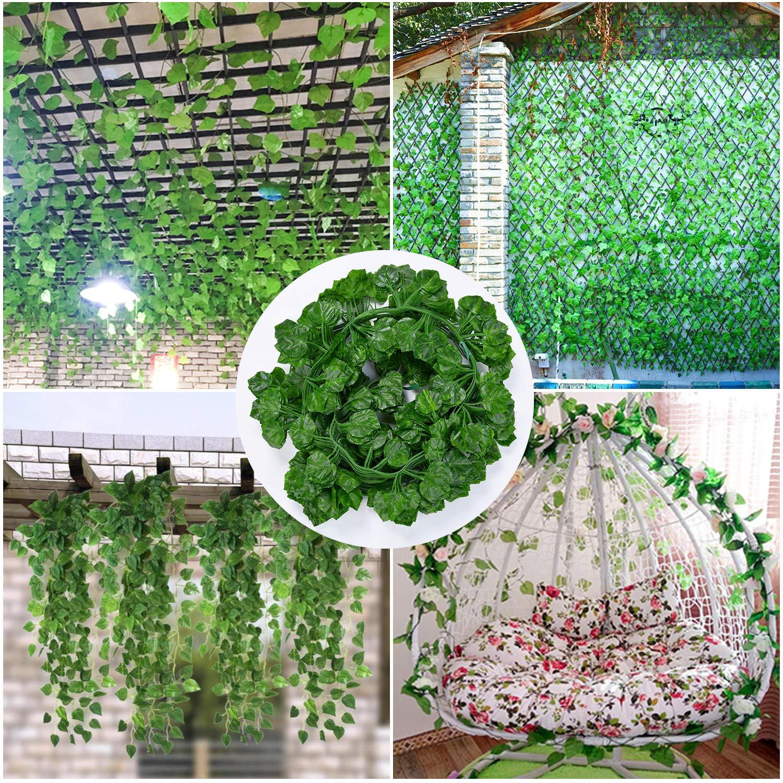 Outgeek 12 Cuerdas Vides Artificiales Falsas Hojas De Parra Vid Verde con Uvas Artificiales
