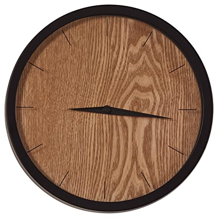 Rivet Modern Minamalist Wood-Face Clock, 12 H, Natural