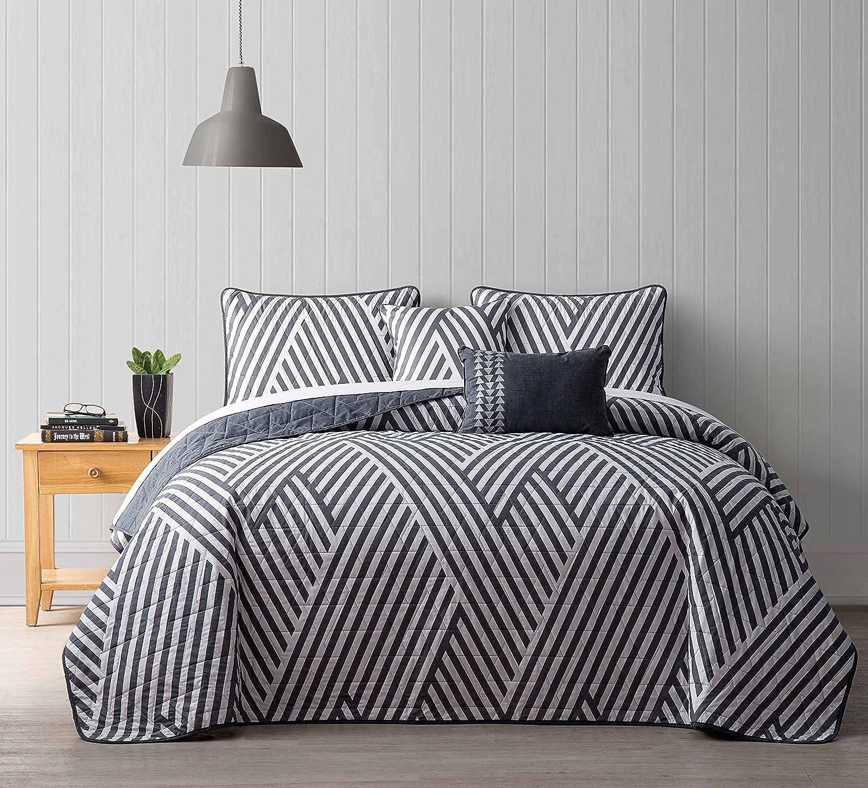 Amazon com avondale manor 5 piece archer quilt set queen grey home kitchen
