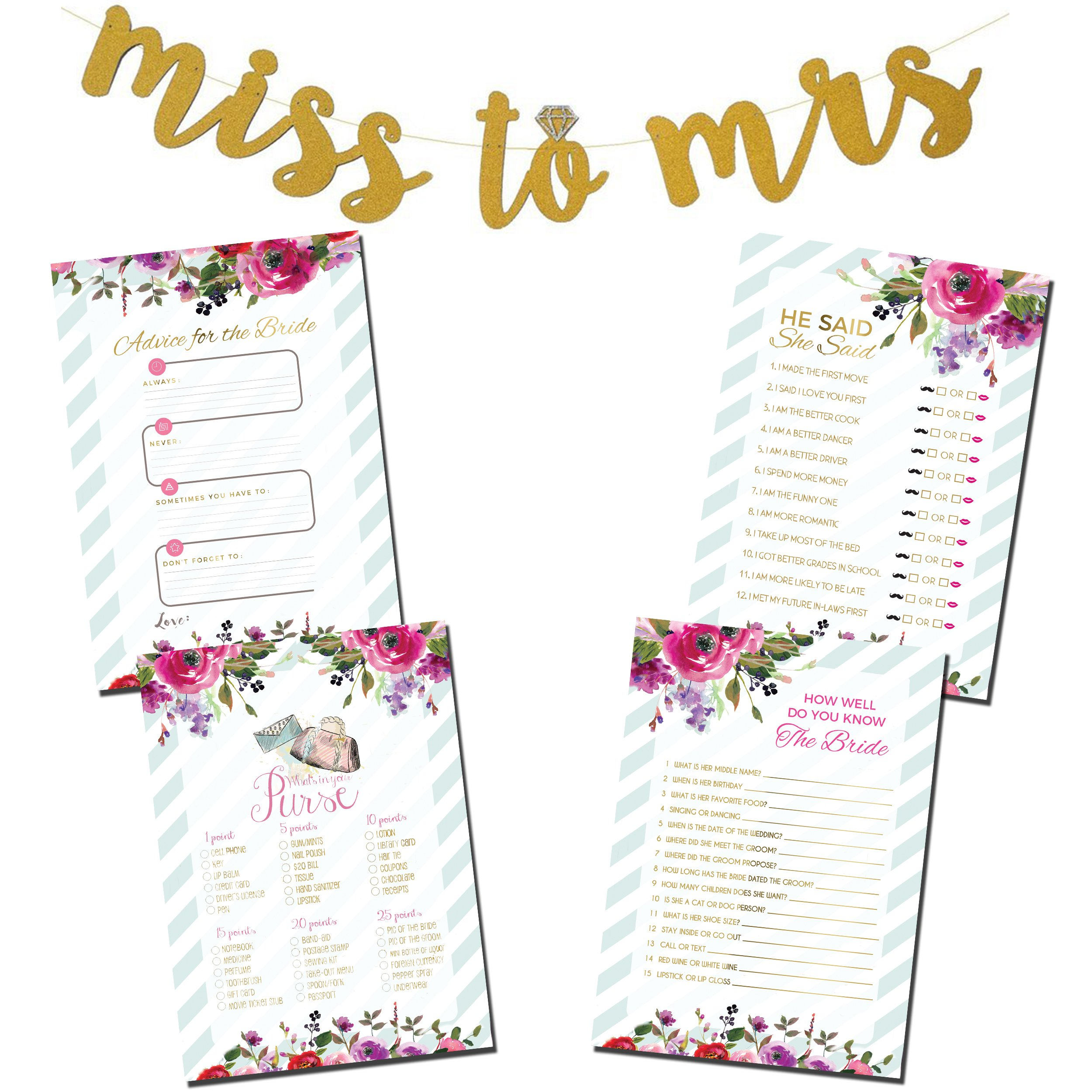 Bridal Shower Games Bundle with Bonus Miss to Mrs. Gold Glitter Banner & Advice for the Bride Cards | He Said She Said | How Well do you Know the Bride | What's in your Purse
