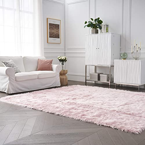 Funseed Soft Faux Fur Rectangle Area Rugs 8' x 10' Fluffy Indoor Carpet