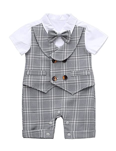 0d9acb862 HeMa Island HMD Baby Boy Gentleman White Shirt Waistcoat Bowtie Tuxedo  Onesie Jumpsuit Overall Romper (
