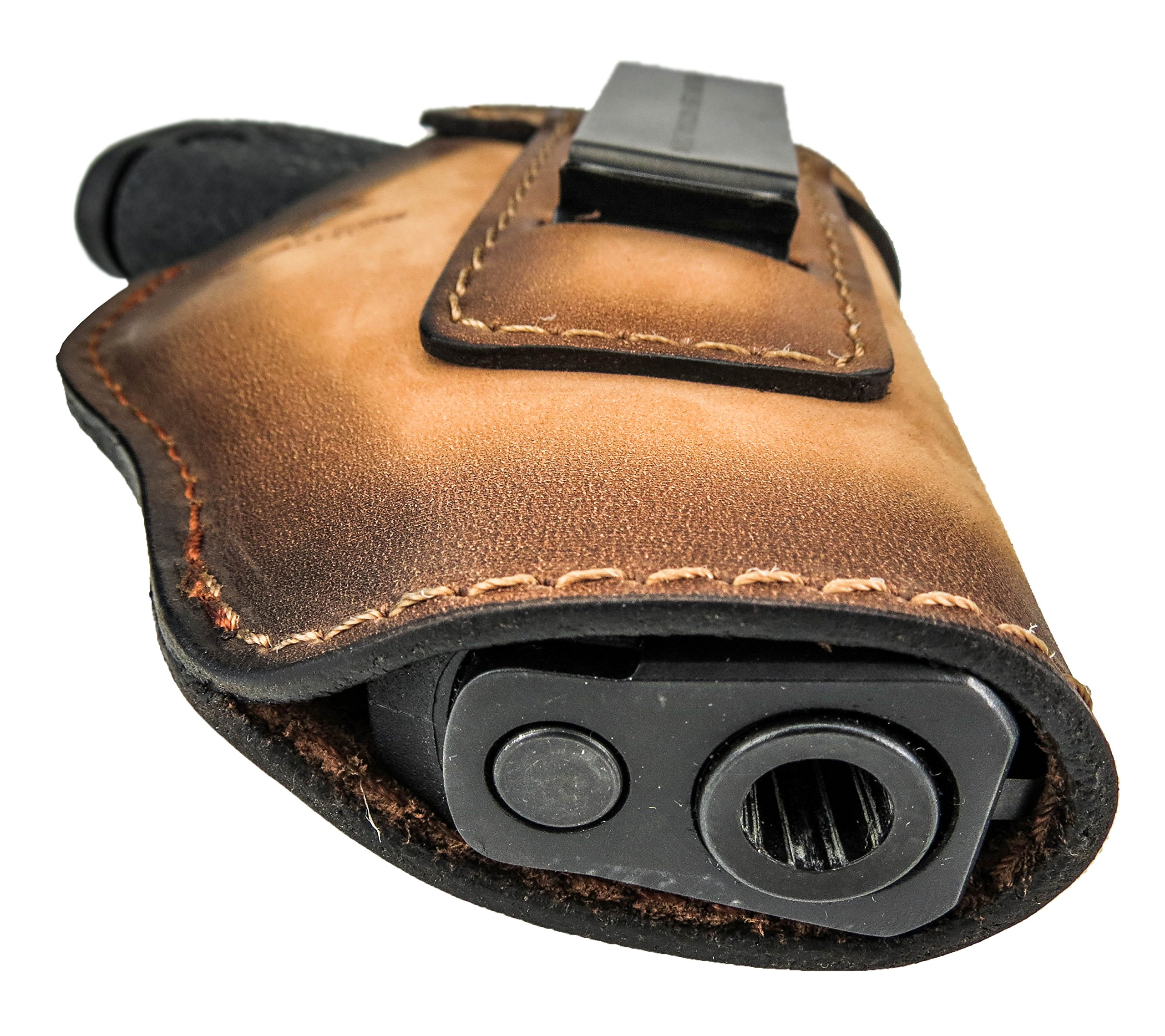 Relentless Tactical The Defender Leather IWB Holster - Made in USA - For S&W M&P Shield - GLOCK 17 19 22 23 32 33/Springfield XD & XDS/Plus All Similar Sized Handguns – Charred Oak – Right Handed by Relentless Tactical (Image #9)