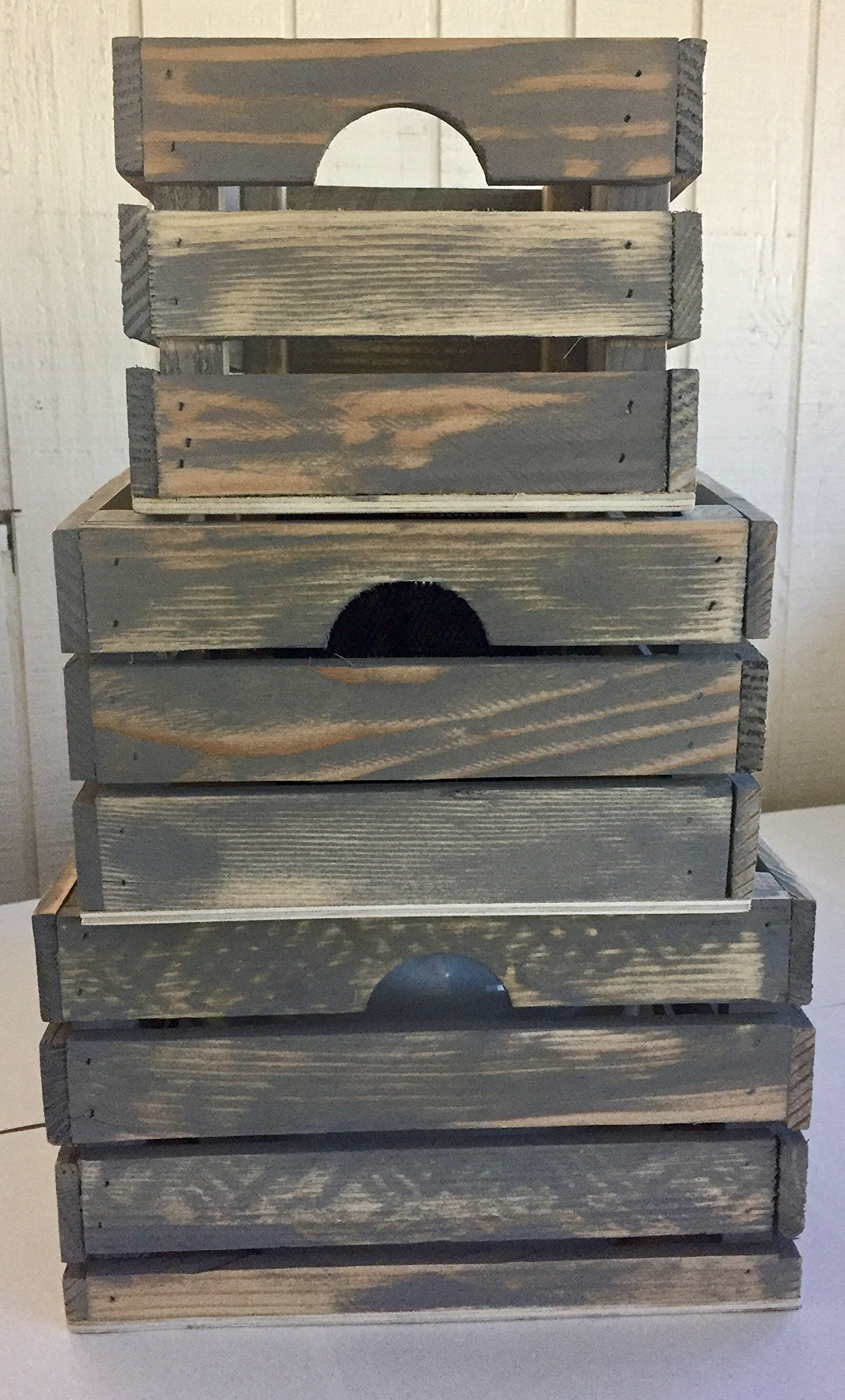 Winship Stake and Lath, Inc. Rustic Decorative Wood Crates (Set of 3) - Cottage Grey Distressed by Winship Stake and Lath, Inc. (Image #5)