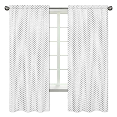 Grey and White Polka Dot Window Treatment Panels Curtain