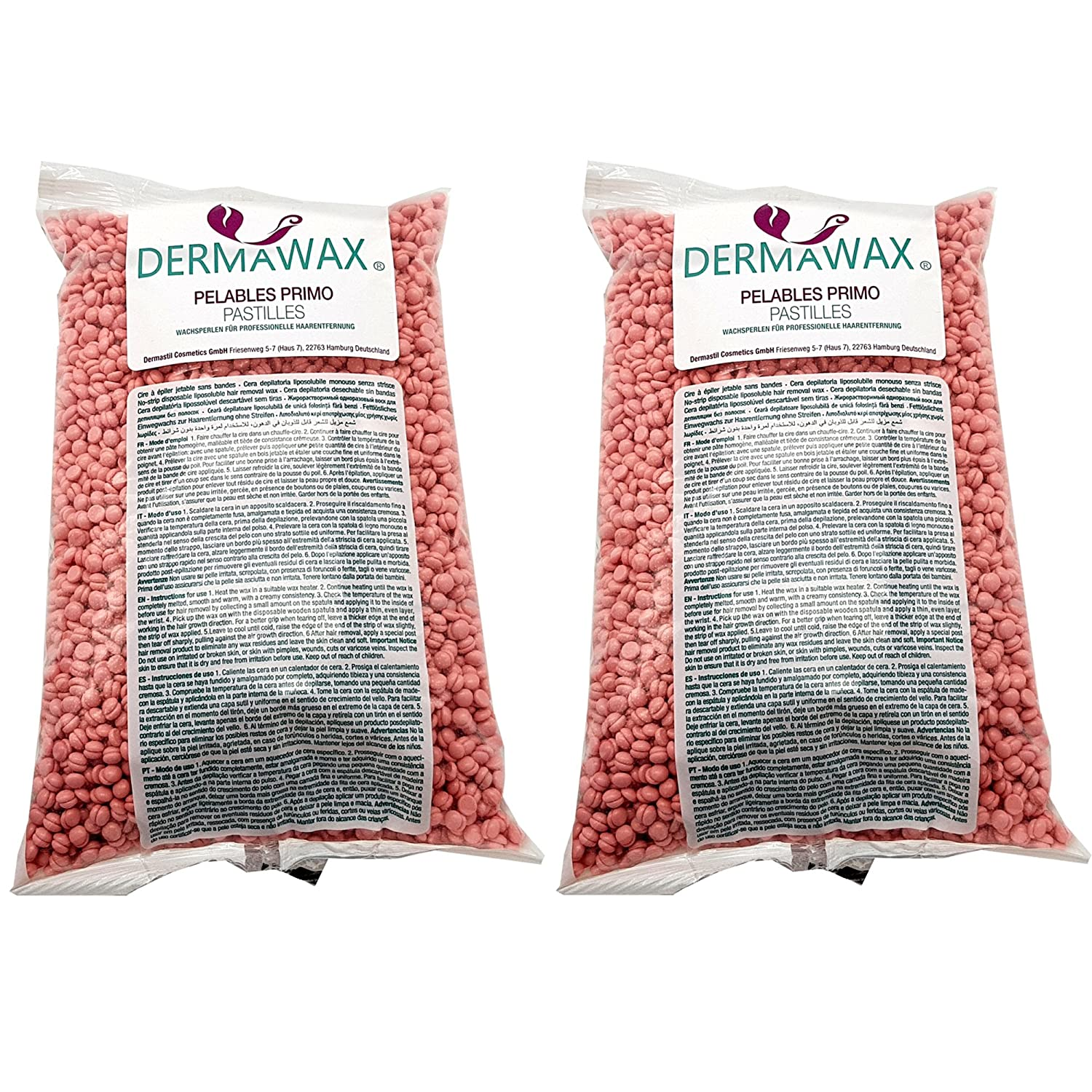2kg Pink TIO2 Low Temperature Premium Wax Beads for Depilation, Body Hair Removal Dermastil