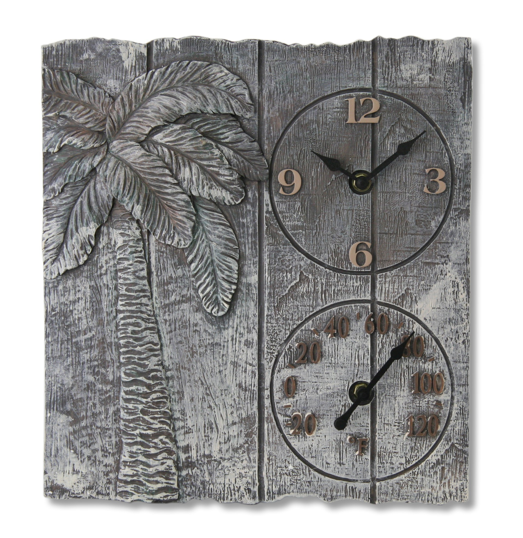 Springfield 12''x13'' Palm Tree Poly Resin Clock with Thermometer