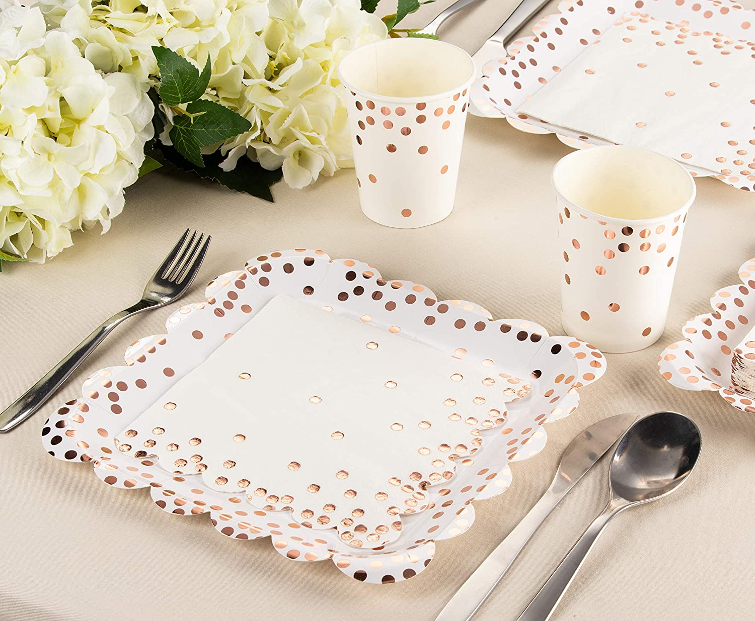 Wedding Party Supplies 50-Pack Disposable Napkins with Rose Gold Foil Polka Dot Confetti and Scalloped Edges Rose Gold Napkins Luncheon Size Folded 6.5 x 6.5 Inches 3-Ply