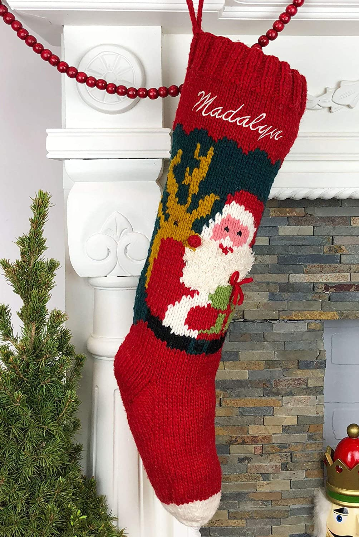 c4ad1d88ff8 Amazon.com  Christmas Stocking Personalized Hand Knit Santa Reindeer   Handmade