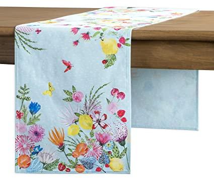 Maison D Hermine Jardin D Ete 100 Cotton Mint Table Runner Double Layer 14 5 Inch By 72 Inch