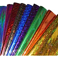TOTAL HOME Plastic Holographic Metallic Colour Paper Wrapping Sheets Especially for Gifts for Loved, 24x17-inch 25-Sheets (Multicolour)