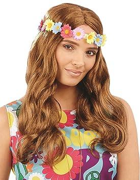 Vestido de lujo floral ondulado de las señoras de la peluca del Hippie 70s 60s Accesorio