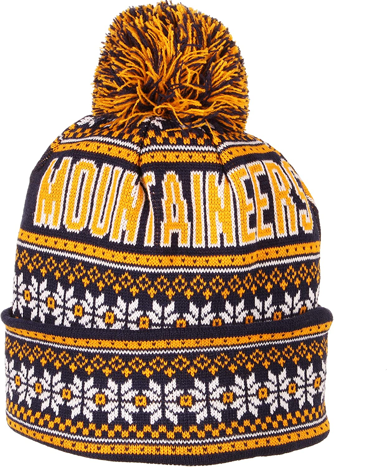 Team Color One Size Fits Most NCAA Zephyr West Virginia Mountaineers Mens Blitzen Cuffed Pom Knit Beanie