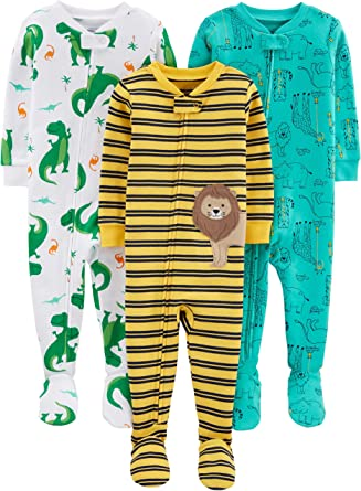 Simple Joys by Carters Baby Boys 3-Pack Snug Fit Footed Cotton Pajamas
