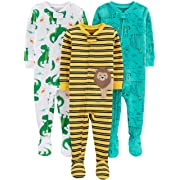 Simple Joys by Carter's Boys' 3-Pack Snug Fit Footed Cotton Pajamas, Dino/Animals Green/Lion 6-9 Months