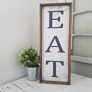 EAT Large Kitchen Wood Farmhouse Sign