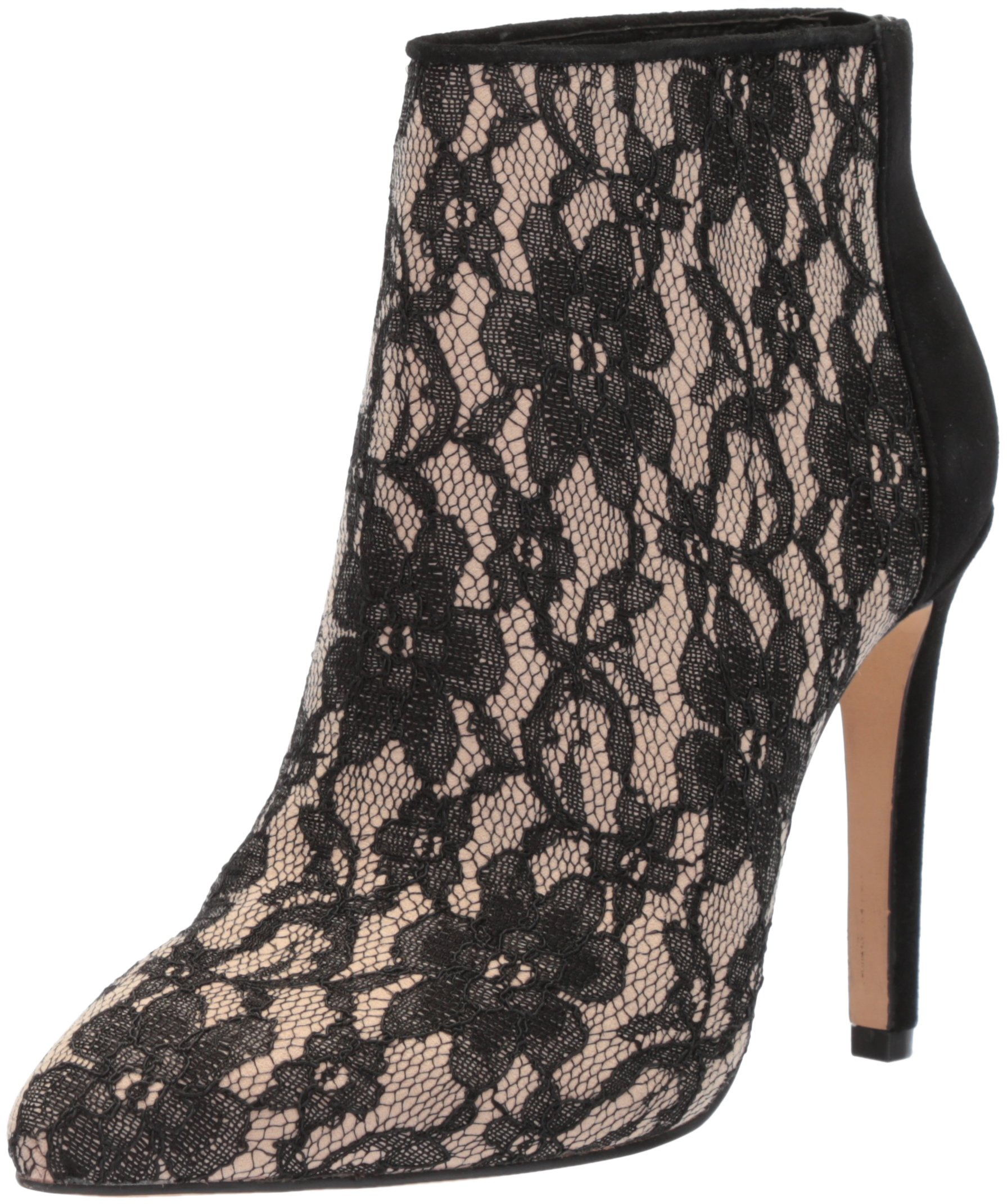 The Fix Women's Melanie Pointed Toe Stiletto Ankle Boot, Black/Nude Lace, 9.5 B US