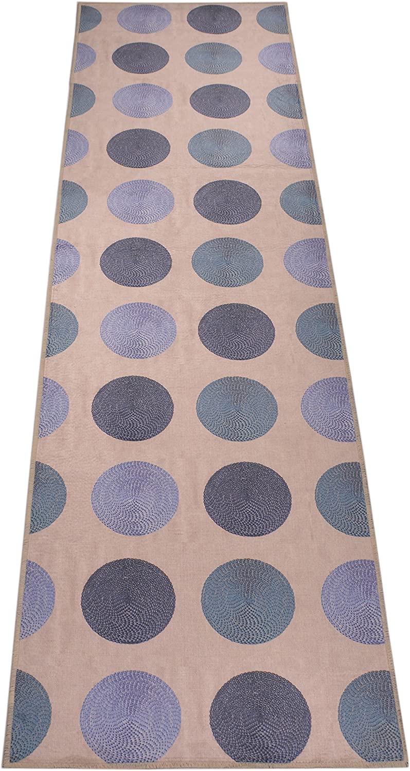 "Nature Inspired Printed Runner Rug Slip Resistant TPR Rubber Back Exotic Patterns (Circles Oatmeal Blue, 1'11"" x 6'11"")"