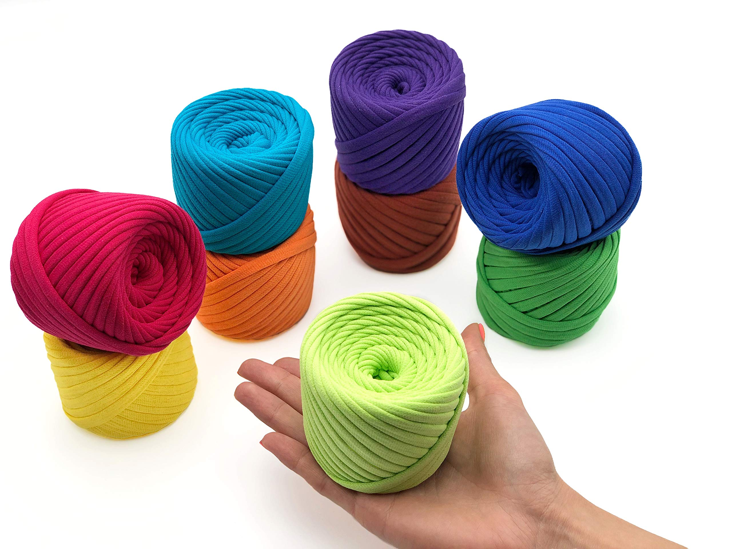 T-Shirt Yarn Fettuccini Zpagetti Set - 9 Balls Total of 196 Yards - Tshirt Yarn Kit for Crocheting - Ribbon Yarn 100% Cotton - Knitting Yarn Ball - T Yarn Organic - T-Yarn Duval Set