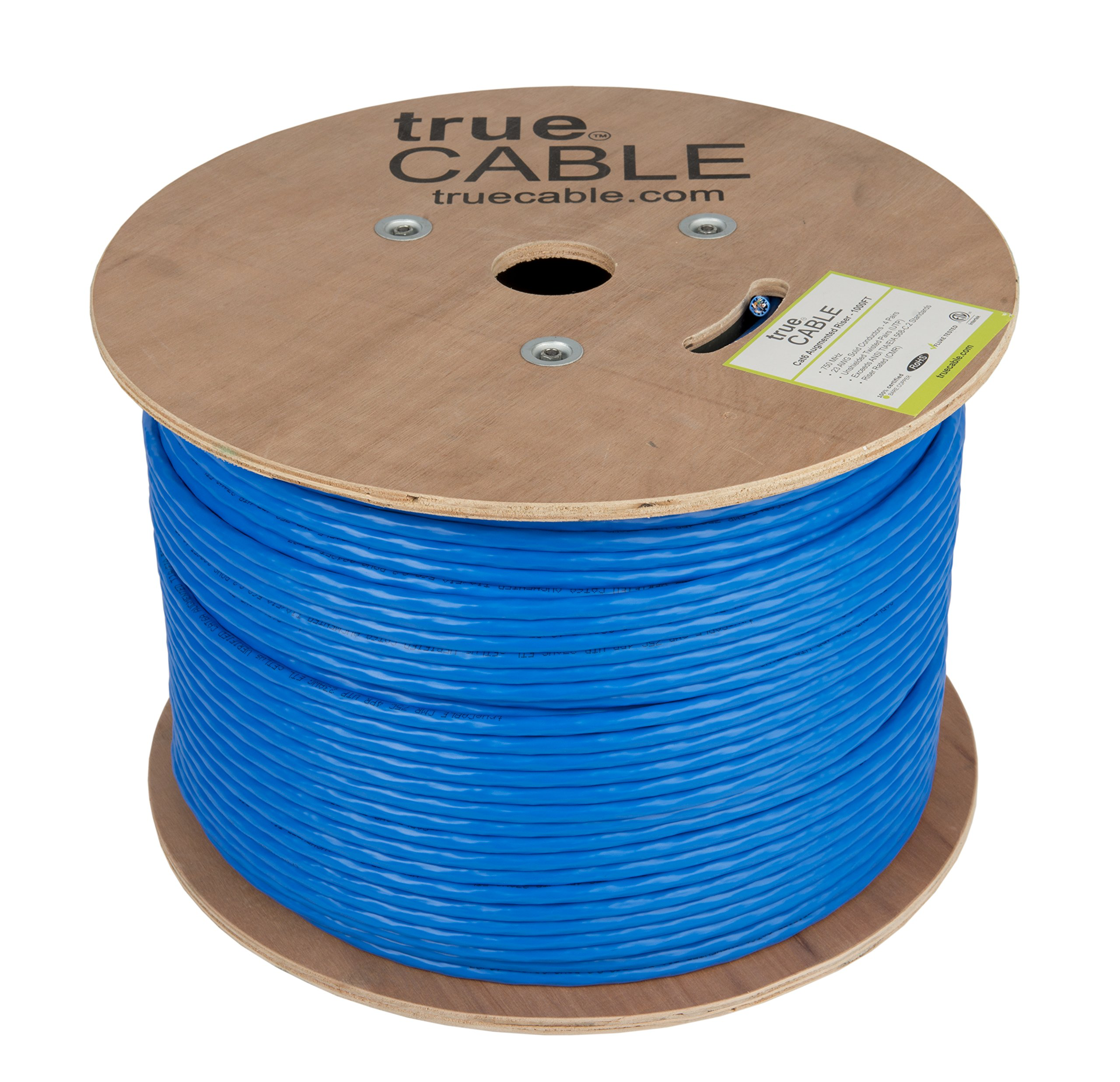 Cat6A Riser (CMR), 1000ft, Blue, Solid Bare Copper Bulk Ethernet Cable, 750MHz, ETL Listed, 23AWG 4 Pair, Unshielded Twisted Pair (UTP), trueCABLE by trueCABLE (Image #2)