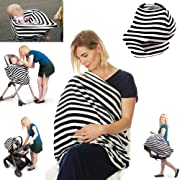 Premium 4 in 1 - Car Seat Cover, Baby Car seat Canopy,Nursing Cover / Nursing Scarf, Shopping Cart Covers Grocery Trolley Cover,High Chair Cover,Unisex Carseat Cover / Carseat Canopy, Perfect Gift!