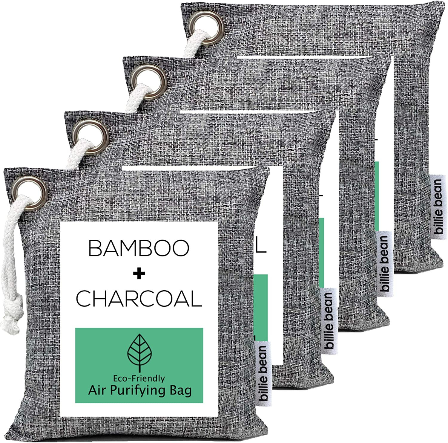 BILLIE BEAN Bamboo Charcoal Air Purifying Bags (4 Pack, 200g each) - Natural Fresh Air with Our Activated Charcoal Bags Odor Absorber - Odor Eliminator and Air Freshener for Home, Car, Pets, Closets