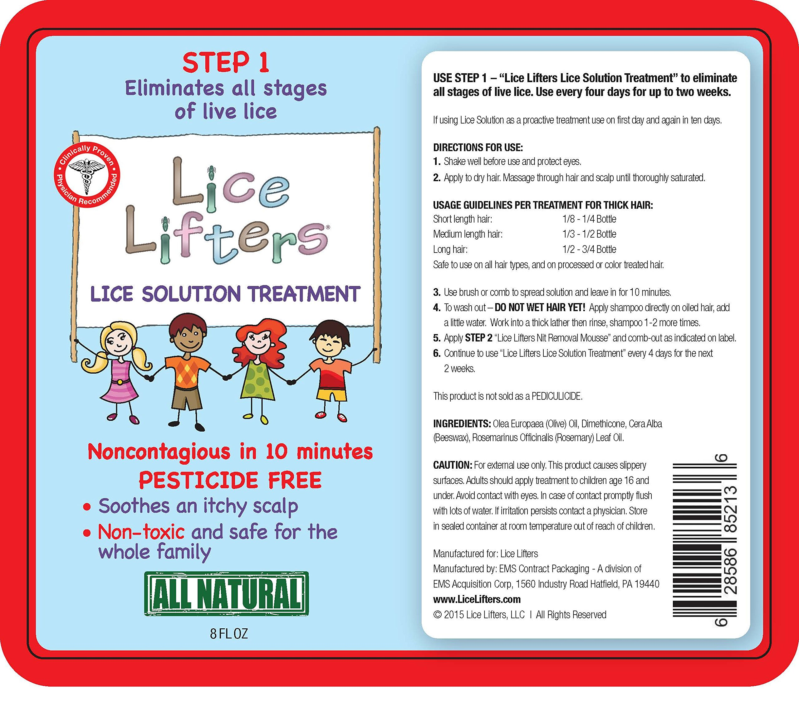 Lice Lifters Lice Solution Treatment (Eliminates Lice) in 10 Minutes. All Natural, Pesticide and Chemical Free Lice Treatment.Natural Alternative to Rid,Nix,Lice M,Fairy Tales.