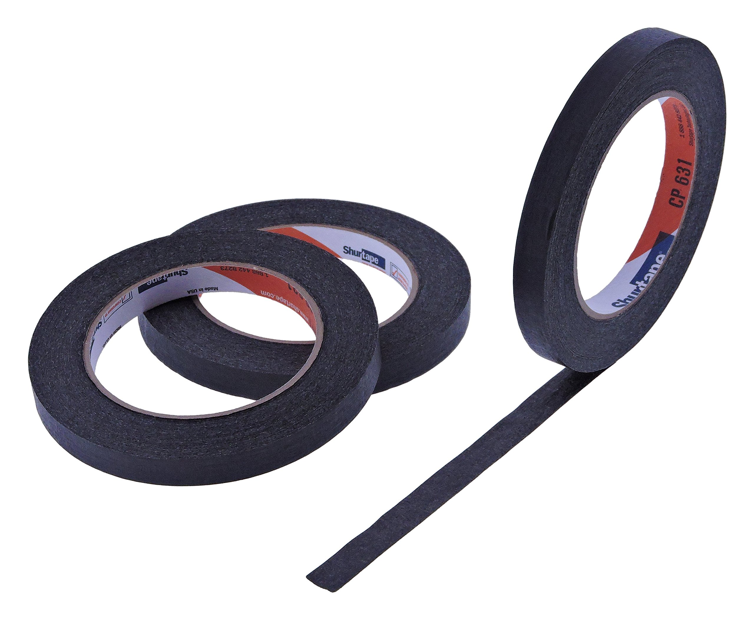 3pk 1/2'' in x 60yd Black Masking Tape Extra Sticky PRO Grade High Stick Special Project Painters Tape Painting Trim Arts Crafts School Home Office 21 Days 12MM x 55M .5 inch