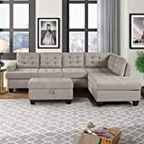 kupet Reversible Sectional Sofa for Living Room with Soft Suede Fabric Chaise Lounge and Storage Ottoman, Grey