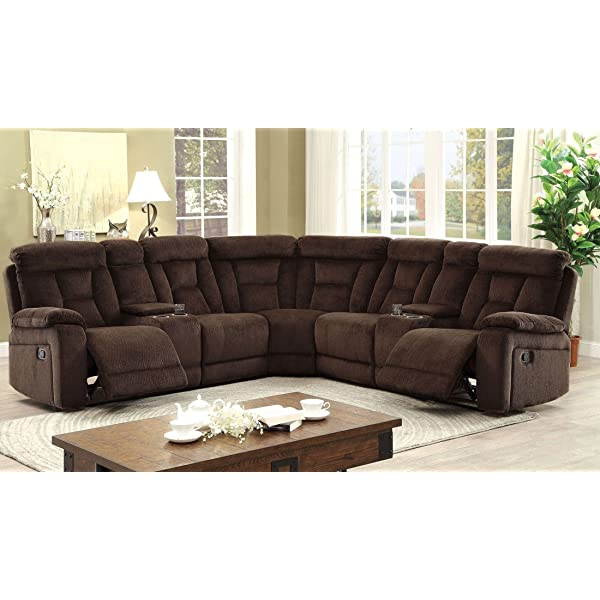 Esofastore Living Room Reclining Sectional w Console Loveseat Corner Cup holder Storage Chenille Fabric Brown Plush Cushion