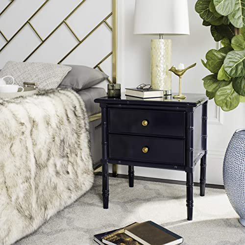 Safavieh Home Collection Mina Modern Coastal 2 Drawer 25 Bamboo Nightstand, Navy