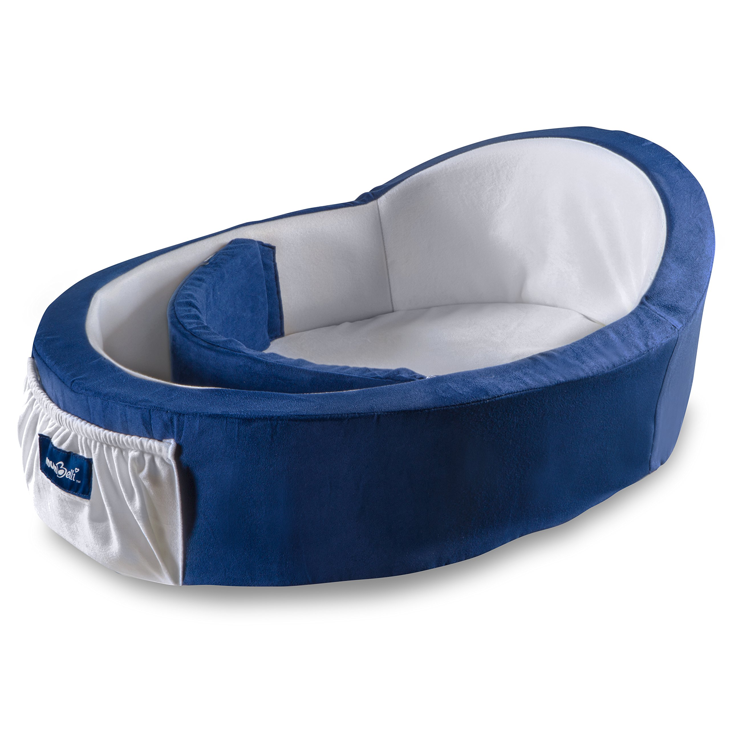 Mumbelli – The only Womb-Like and Adjustable Infant Bed; Patented Design (Nautical). Use as a Sleep transitioner, Lounger and co Sleeping. Reflux Wedge and Carry Bag Included.