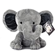 KINREX Stuffed Elephant Animal Plush Toy for Baby, Girls, Boys, Newborn - Great for Nursery, Room Decor, Bed - Grey- Measures 9 Inches