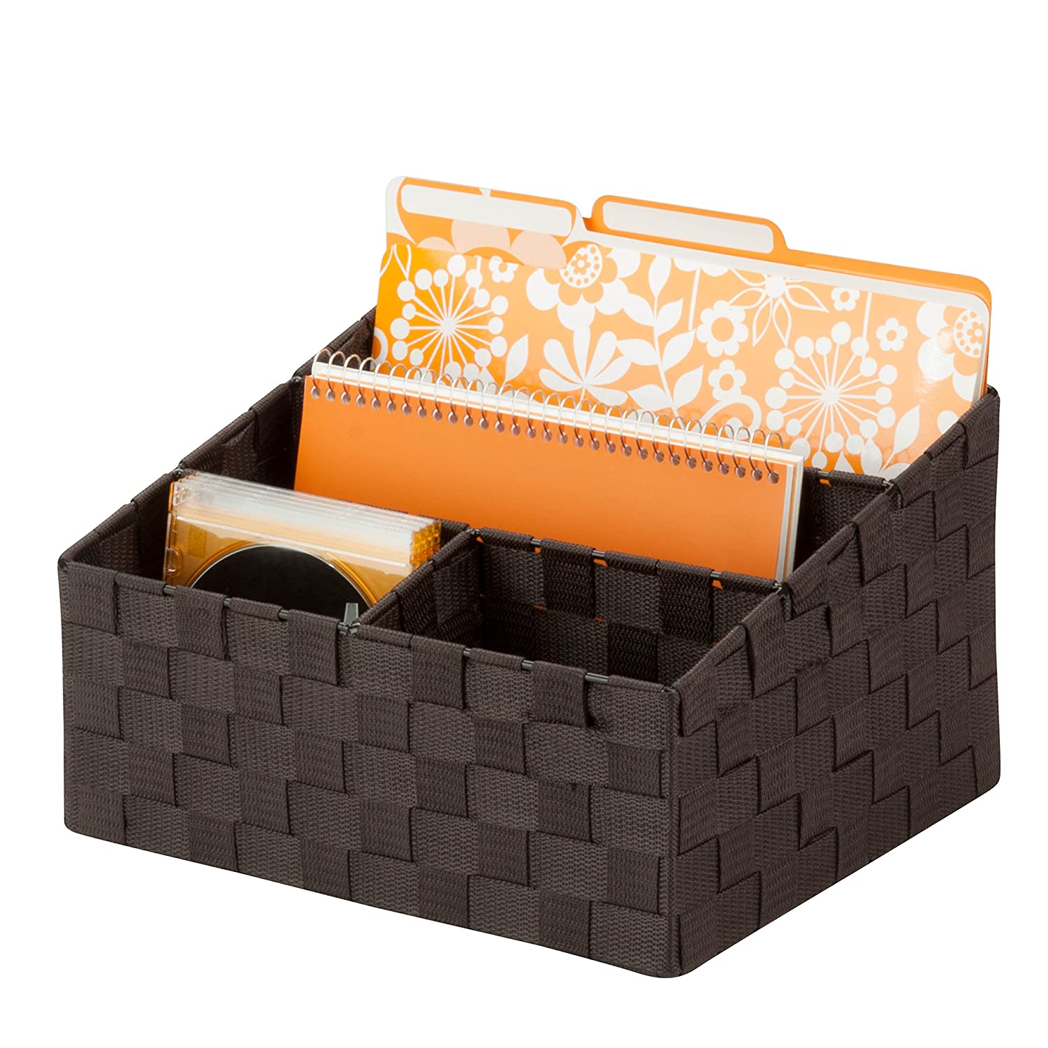 "Honey-Can-Do OFC-03611 Woven Mail and File Desk Organizer, 12 x 10.25 x 7"", Espresso"