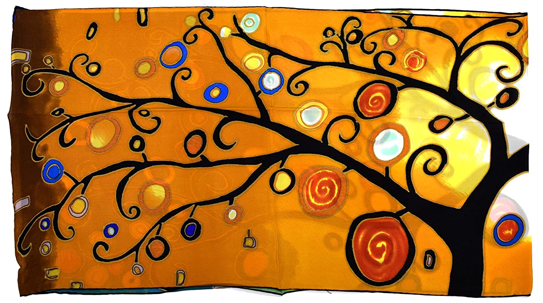 Orange Black Abstract Tree Design Long Silk Scarf